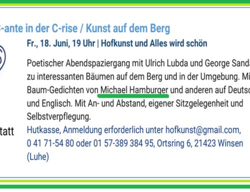 Waldbaden und Baum-Gedichtemit Ulrich Lubda und George Sandaig am Freitag, 18. Juni, 19 Uhr